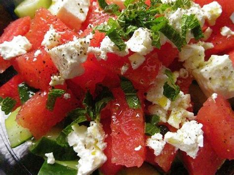 watermelon salad recipe with cucumbers mint and feta cheese organic authority com