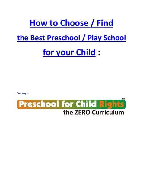 How To Find From Your School How To Find Choose The Best Preschool Play School For Your Child