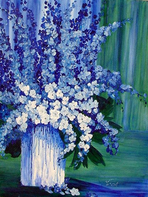 blue and white painting blue and white delphiniums in vase by carol nelissen