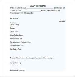 Sle Of Employment Certificate Template by Salary Certificate Template 25 Free Word Excel Pdf
