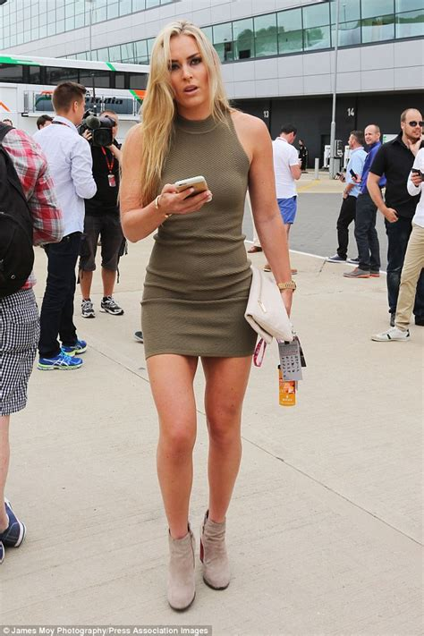 lindsey vonn flaunts her legs in mini dress at silverstone