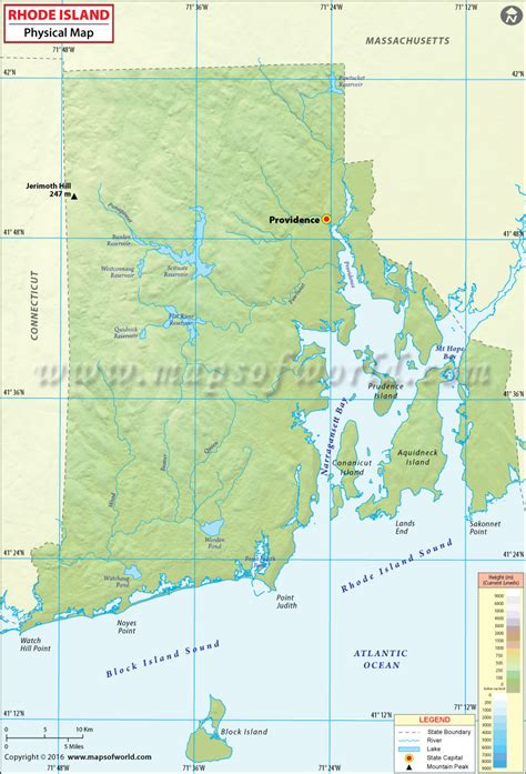 rhode island on map physical map of rhode island