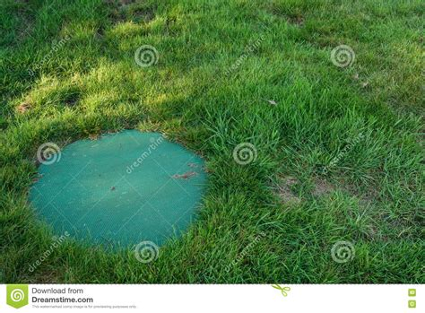 backyard lawn septic system lid in a backyard lawn stock image image