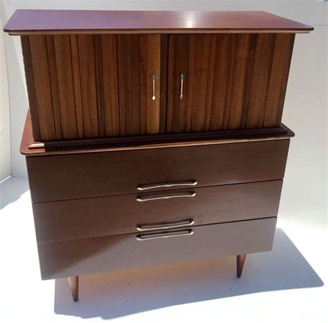 mid century modern style highboy dresser by united