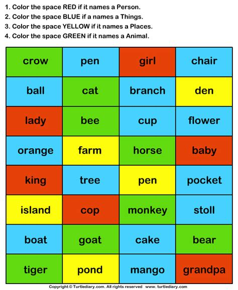 is color a noun color the nouns worksheet turtle diary