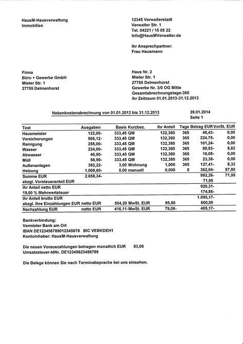 Nebenkostenabrechnung Vorlage Muster Einer Nebenkostenabrechnung F 252 R Gewerbe Kostenlos