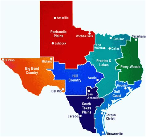areas of texas map texas regions