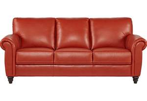 home lusso papaya leather sofa leather