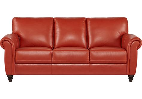 Cindy Crawford Home Lusso Papaya Leather Sofa Leather