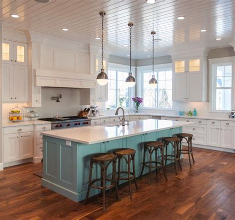 island colors white kitchen with a contrasting island adds a pop of