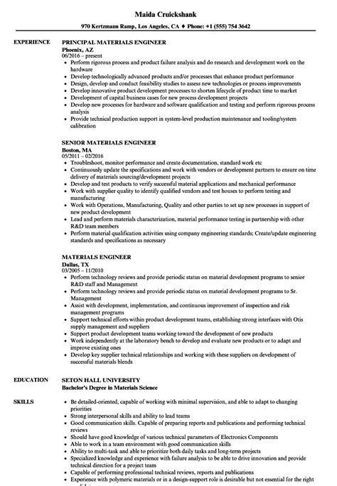 materials engineer resume sles velvet
