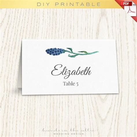 Themed Place Cards Template floral wedding placecard template printable cards