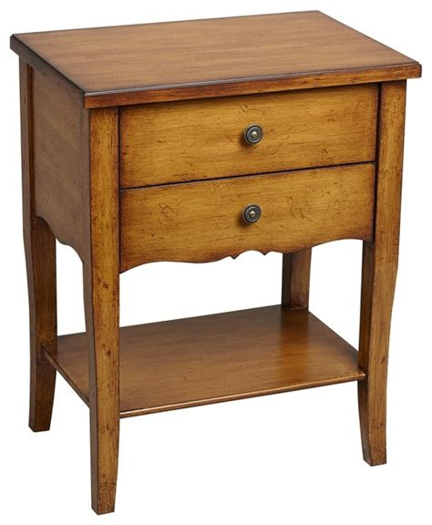 kitchen accent table country cottage alma 2 drawer pecan finish wood accent