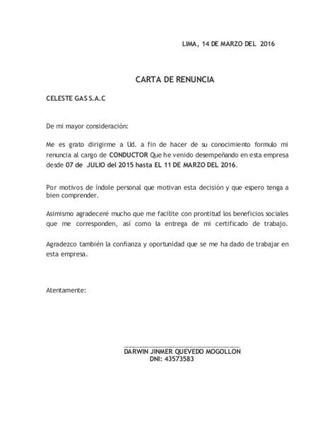 formato de renuncia voluntaria 2015 mxico carta de renuncia 2