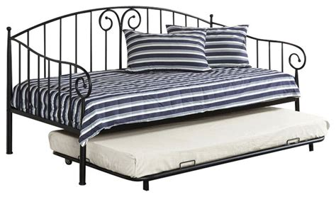 Adarn inc metal curvy wrought iron look twin daybed day bed with trundle amp reviews houzz