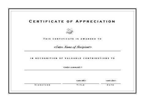 certificate of appreciation word template certificates of appreciation 002
