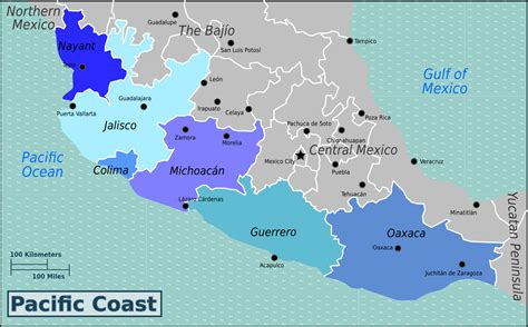 map of the west coast of mexico map of mexico pacific coast mexico map