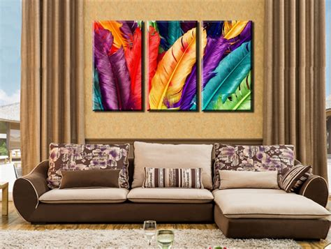 canvas print without frame 3 panels set hd fresh look color feather modern wall
