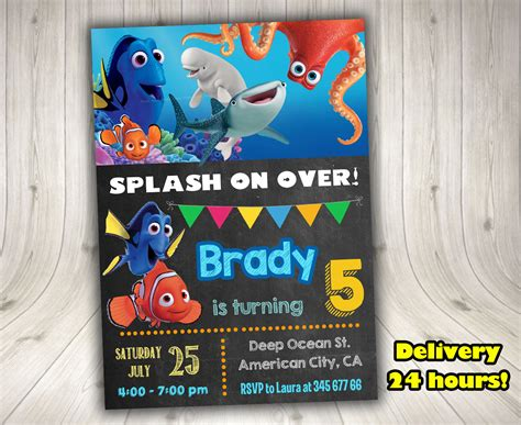 Finding Dory Invitation Finding Dory Decorationsleon Finding Dory Birthday Invitations Template