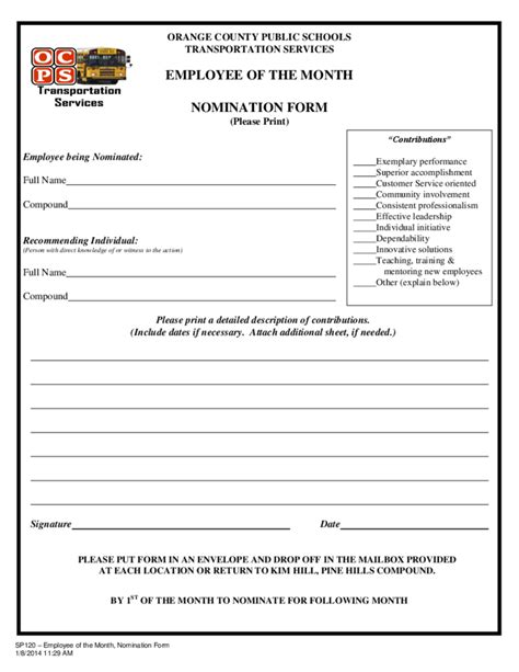 employee of the month nomination form template image gallery nomination form
