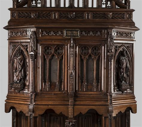 what is the meaning behind the gothic trefoil historic 19th c gothic revival carved oak monk s cabinet