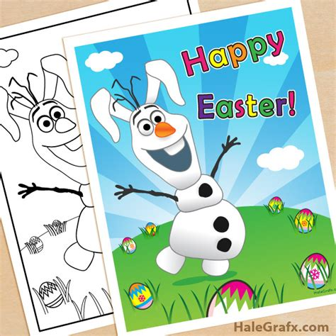 printable happy easter poster free printable frozen olaf easter poster and coloring page