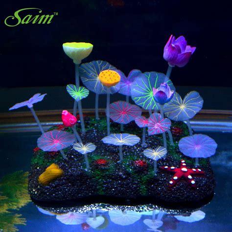 Neon Aquarium Decorations by Glow In The Aquarium Decorations Plants Ornaments