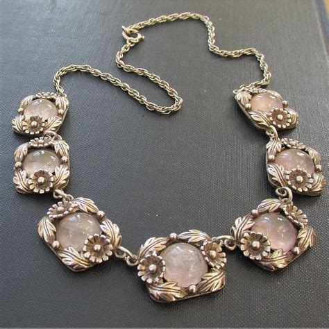 vintage rose quartz and silver ne from necklace