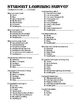 Printable Learning Styles Inventory For College Students