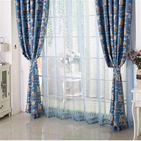 Nautical Blackout Curtains Quality Blackout Polyester Blue Nautical Curtains