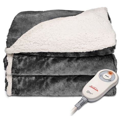 electric couch blanket sunbeam tsc8urr825 25aw sherpa microplush electric heated