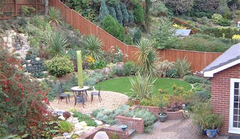 landscape designs for backyard slopes sloping garden design ideas for small garden tinsleypic blog landscape pinterest