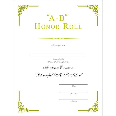 honor roll certificate template 28 images a honor roll