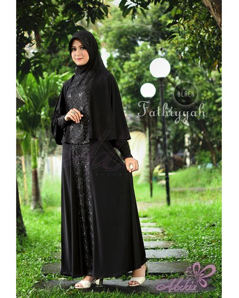 Baju Pesta Adzkia fathiyyah syar i black baju muslim gamis modern