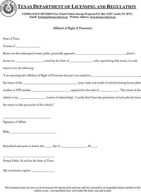download texas affidavit of right of possession for free