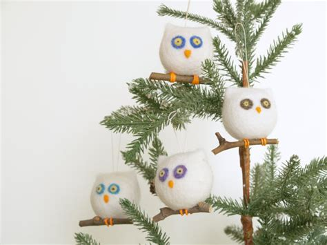 owl ornament needle felted wool eco friendly by