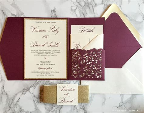 wine and gold template wedding invitation card sle laser cut pocket wedding invitation burgundy and gold
