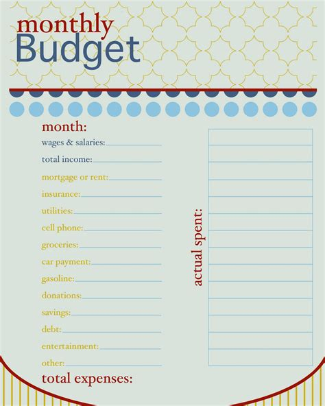 free printable blank monthly budget worksheet planner