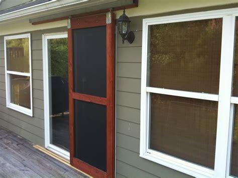 Sliding Screen Doors On Craftsman Porch Patio