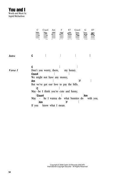 strumming pattern for you and i you and i sheet music by ingrid michaelson ukulele with