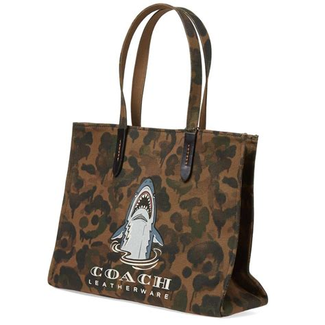 Coach Brown Tote Bag lyst coach shark camo tote bag in brown