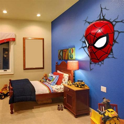 child bedroom wall decorations 3d poster wall l cartoon spiderman action head shaped lights creative led night