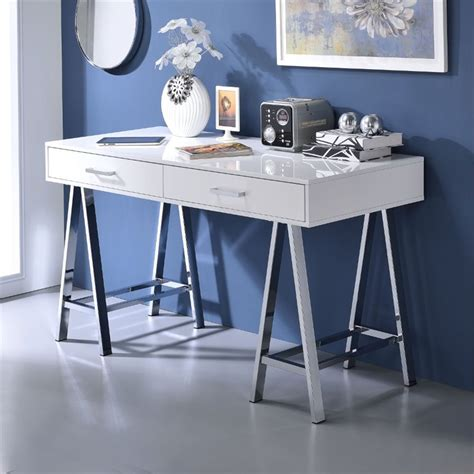 white and chrome desk acme coleen home office desk in white and chrome 92229