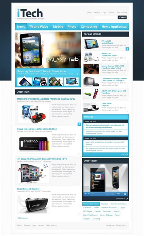 Electronics Review Psd Template 56317 Website Review Template