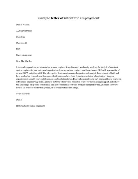 Cover Letter Exles Within Same Company Sle Letter Of Intent For A Within The Same Company