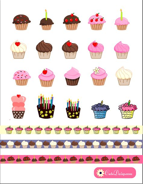 printable stickers for birthday 20 free printable cupcake planner stickers and washi tapes