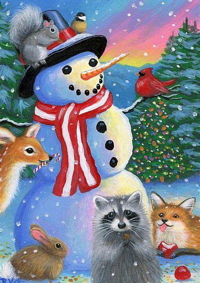 details  snowman christmas wildlife raccoon fawn fox birds bunny original aceo painting