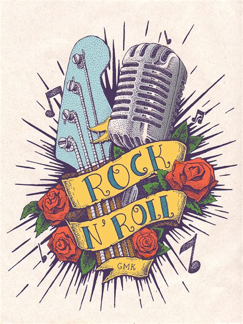 rock n roll tattoo designs rock n roll em pontilhismo 2015 flash