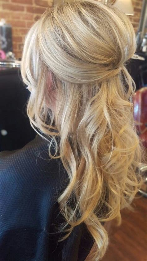 wedding hair hairstyle updo half up half down pinned curly