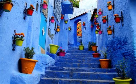 The Blue City Morocco by Flowers City Stairs Blue Photography Wallpaper